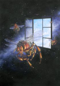 Jeweled mechanical bees flying through a window in space.